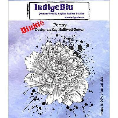 New Cling IndigoBlu Rubber Stamp PEONY FLOWER BLOSSOM  free usa ship