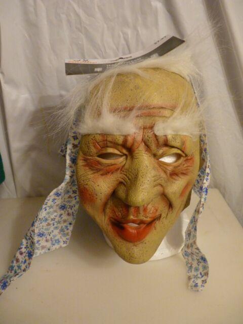 Old Woman Granny Mask Grey Hair Lady Nun Halloween Fancy Dress Masks