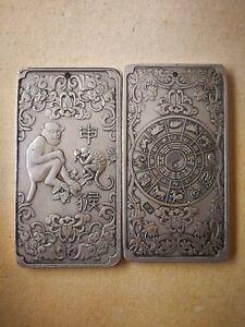 Pig tibet Silver Bullion thanka amulet 136g Chinese Old 12 Zodiac