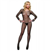 Seamless Long Sleeved Ring Net Bodystocking New Womens Valentine Black One Size