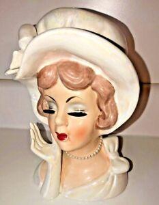 Vintage Lefton's Japan Lady Head Vase 2426 Iridescent Pearl