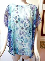 $89 Chico's Lesley Paisley Mix Sheer Poncho, Cool Multi / Blue, Size S/m