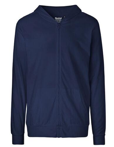 Unisex Bio Baumwolle Lightweight Hoodie Jacke Gr.XS bis 3XL in 6 Farben NE62301
