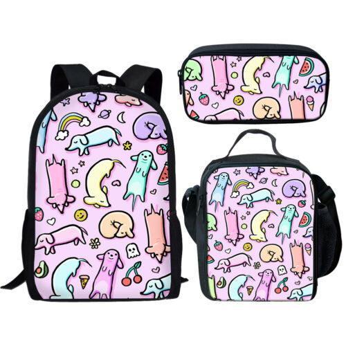Floral Dachshund Women Girls Backpack Kids Schoolbag Lunch Box Pencil Bag Set