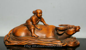 6-034-China-Boxwood-Wood-Carving-Tongzi-Boy-Ride-Bull-Oxen-Cattle-Statue-Sculpture