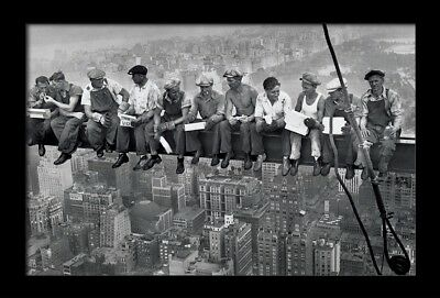 LUNCH ATOP A SKYSCRAPER 13x19 FRAMED GELCOAT POSTER PHOTOGRAPHY NYC ICONIC  IMAGE | eBay