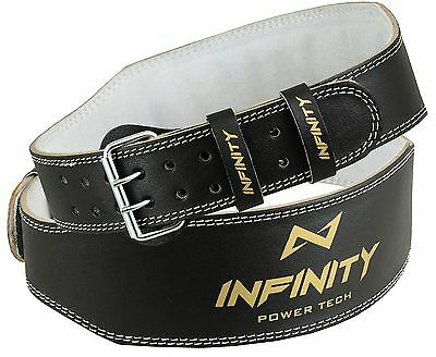 """INFINITY Weight Lifting 4"""" Leather Belt Back Support Gym Power Training Fitness"""