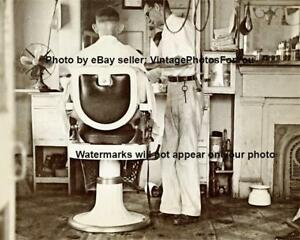 Vintage-Old-Antique-1935-New-Orleans-Barber-Shop-Chair-Haircut-Photo-Picture