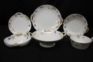 6pc-Lot-Hand-Painted-Nippon-BLUEBIRD-OF-HAPPINESS-Serving-Bowls-amp-Plates-Japan