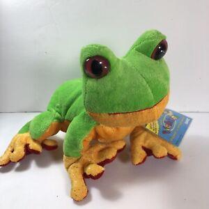 "Ganz Tree Frog Webkinz Stuffed Animal Plush Toy Green Yellow Red 9/"" No Code"