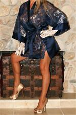 ONE SIZE SHORT MIDNIGHT BLUE VICTORIA'S SECRET SATIN & LACE  VTG LINGERIE ROBE
