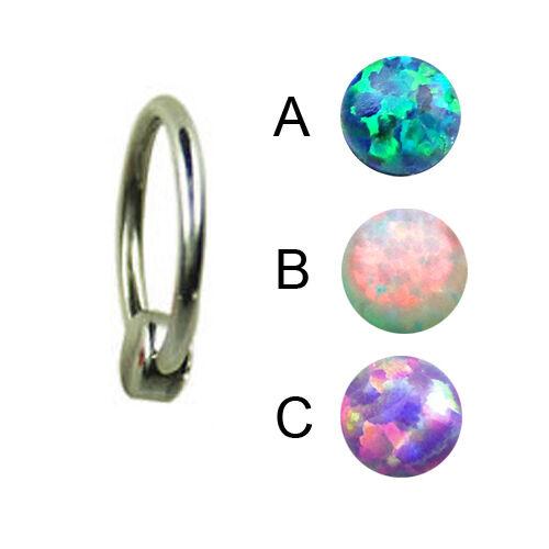 Titan 1,2mm synth.Opal Flatback Kugel Piercing Ring 4mm Ohr Lippe Helix Piercing