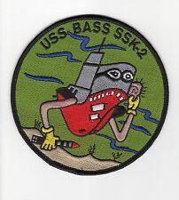 USS Bass SSK 2 - Sub Wearing Black Mask BC Patch Cat No B684