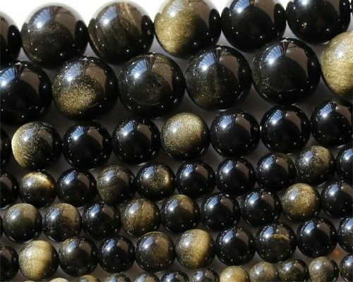 Natural Gold Obsidian Round Beads 4-20mm Black Beads More Discount For Wholesale