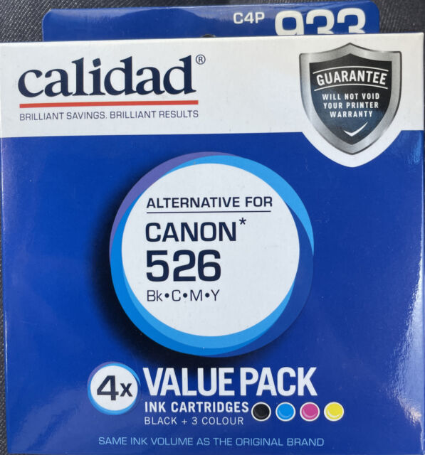 Calidad 933C4P alternative for Canon 526, 4 Value Pack Black/Cyan/Magenta/Yellow