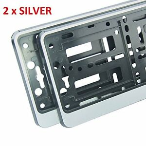 2-x-034-SILVER-034-EFFECT-NUMBER-PLATE-HOLDER-SURROUND-CAR-ABS-PC-Plastic