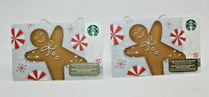 Starbucks Coffee 2015 Gift Card Gingerbread Man Peppermint Zero Balance Set of 2