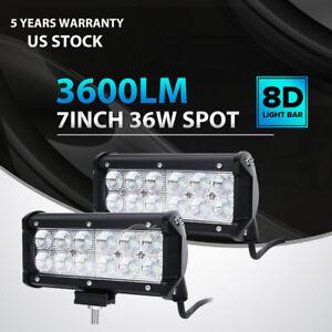 2x-7-034-INCH-36W-LED-WORK-LIGHT-BAR-SPOT-OFFROAD-ATV-FOG-TRUCK-LAMP-4WD-12V-6-034