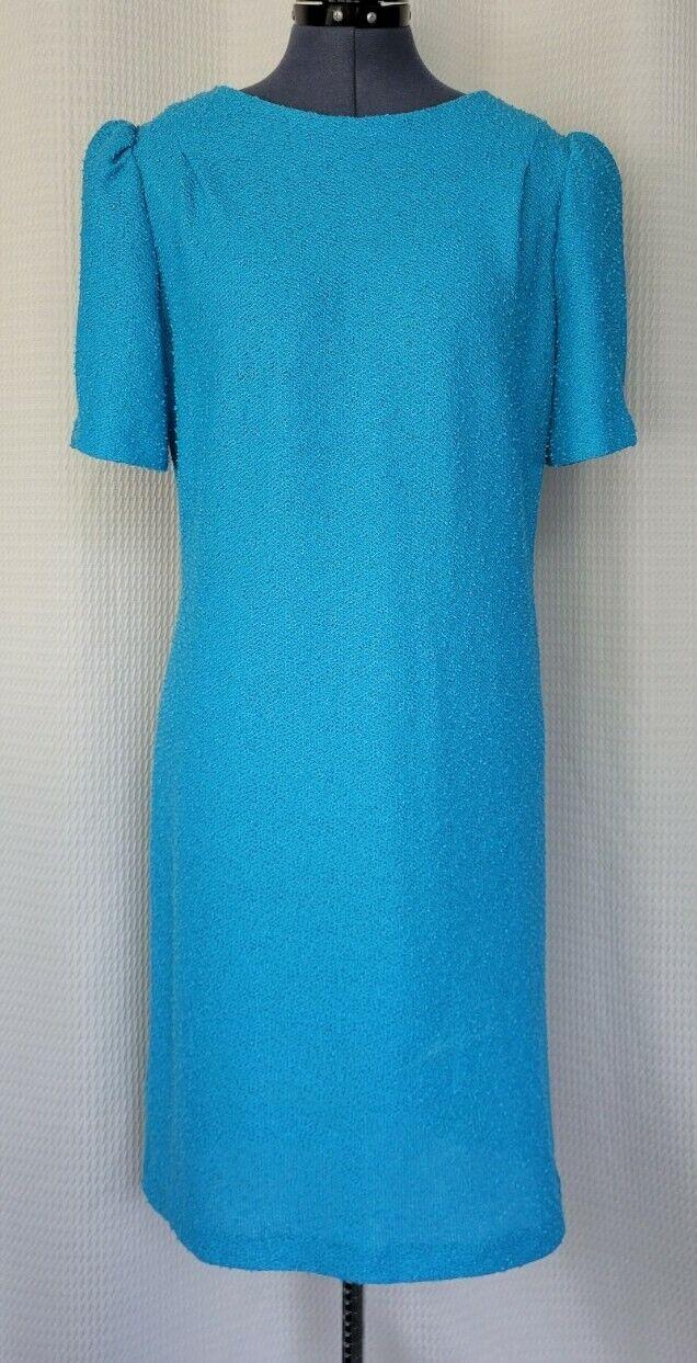 Vintage Blue Boucle Back Button Down Dress