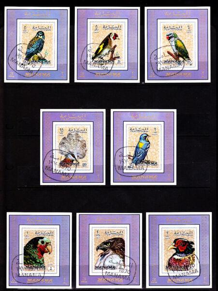 *** Oiseaux *** = 8 Beau Correspondant Deluxe Mini-sheet Set