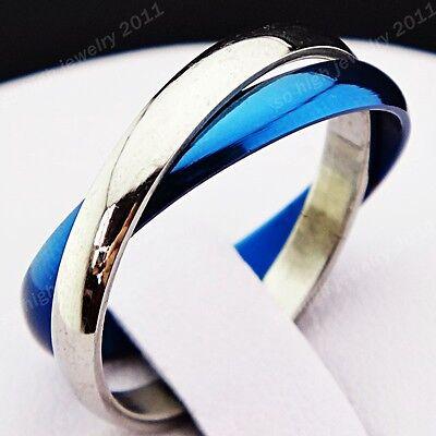 2-in-1 Blue Silver Titanium Stainless Steel Infinity Men's Women's Ring Sz 5-10#