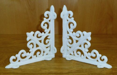 "2 WHITE ANTIQUE-STYLE 5.5/"" CAST IRON SHELF BRACKETS garden rustic fleur ARROW"