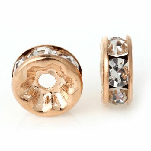 oro rosa Rhinestone claro Redondo Rondelle espaciador granos del metal 8mm 50 un