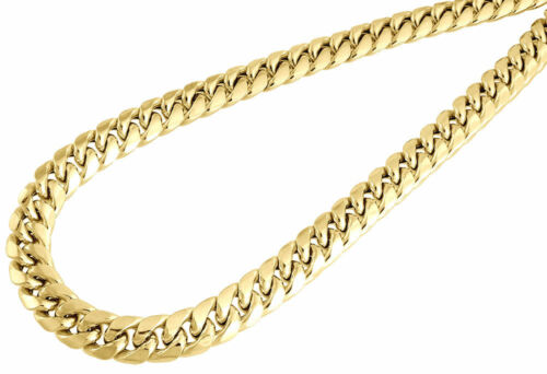 10K Yellow Gold Semi Hollow 9 MM Miami Cuban Link Necklace Chain 30-36 inch