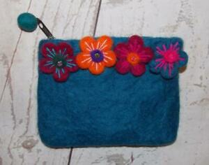 Fair Trade Hippy Boho Multi-Coloured Felt Flower Wallet Purse From Nepal