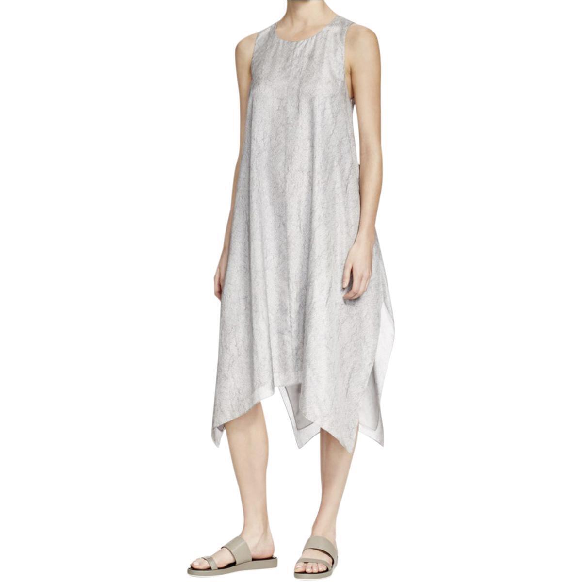 Eileen Fisher DARK PEARL Point d'Esprit d'Esprit d'Esprit  Silk Asymetrical Hem Dress PS  398 38f1ed