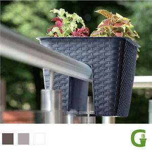 rattan balcony 40 cm flower bridge in rattanoptik gel nder blumenkasten ebay. Black Bedroom Furniture Sets. Home Design Ideas