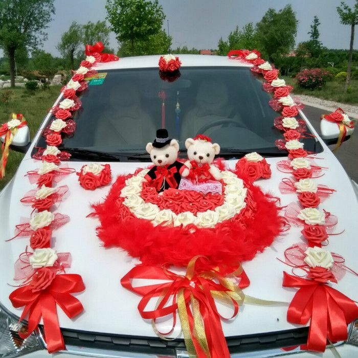 Mariage voiture décoration romantique proposer voiture Fleur Parti voiture Embellissement Bear