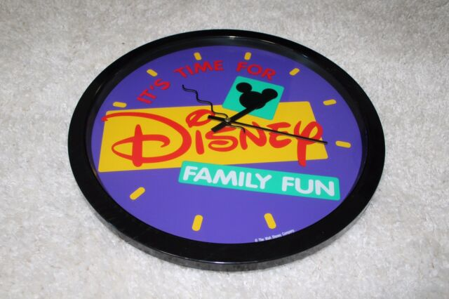 Its Time For Disney Family Fun Wall Clock Purple Yellow Red Turquoise Black Ebay