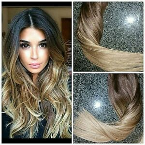 New 6a European Remy Ombre Hair Clip In Human Hair Extensions 2 6