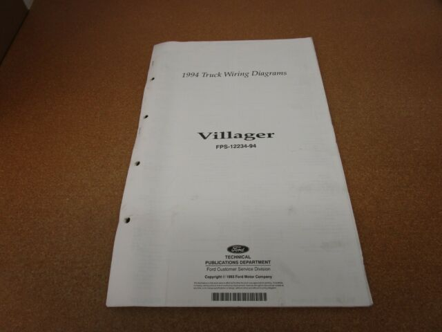 1994 Mercury Villager Van Minivan Wiring Diagram Sheet