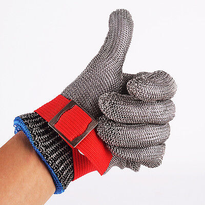 Safety Cut Proof Stab Resistant Stainless Steel Metal Mesh Butcher Red Glove M 5