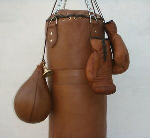 VINTAGE-TAN-LEATHER-BOXING-GYM-PUNCH-BAG-GLOVES-PUNCH-BALL-amp-FITTING-RETRO