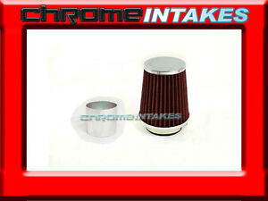"""RED UNIVERSAL 3.5/"""" 89mm CHF AIR FILTER FOR VOLKS//BMW SHORT//COLD AIR INTAKE"""