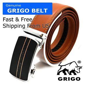 Men-s-Designer-Tan-Leather-Dress-Belt-Sliding-Ratchet-Automatic-Click-Buckle