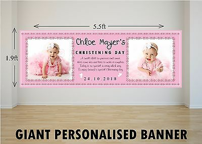 3x giant foil BOYS christening day banners baby boys naming day baptism