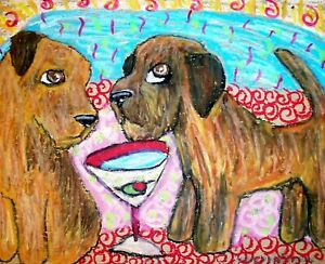 BORDER-TERRIER-Drinking-a-Martini-Collectible-Dog-Art-Print-8x10-Signed-by-KSAMS