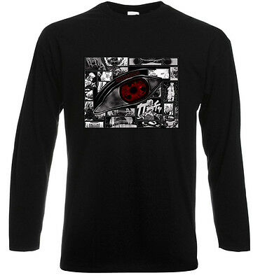 "Kakashi and Sasuke ""Sharingan"" NARUTO Manga Long Sleeve Black T-Shirt Size S-3XL"
