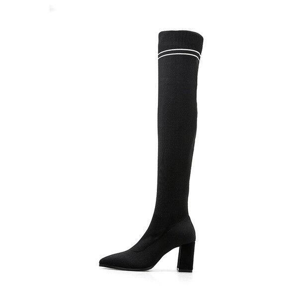 Stivaletti botas botas botas tacco quadrato negro coscia 7 cm comodi simil pelle 1693  precios razonables
