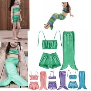 df1fbca4e57 Details about 3Pcs Child Girls Kid Swimmable Mermaid Tail Swimsuit Swimming  Costume Bikini Set
