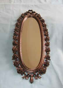 Antique-1970-Coppercraft-Oval-Wall-Mirror-with-Sculpted-Rose-Flower-Frame-RARE