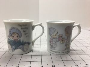 Precious-Moments-Tea-Cup-Coffee-Mug-Lot-Of-2-God-s-Blessing-amp-Christmas-1985