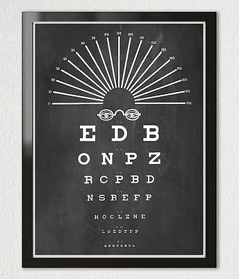 VINTAGE EYE CHART OPTICAL GLASSES Typography Black White Art Print Poster 11x14