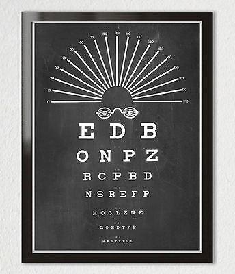 VINTAGE EYE CHART OPTICAL GLASSES Typography Black White Art Print Poster 11x14