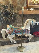 Vintage Carousel Horse Red Robin Collectible Antique NICE Brass Pole MUST SEE