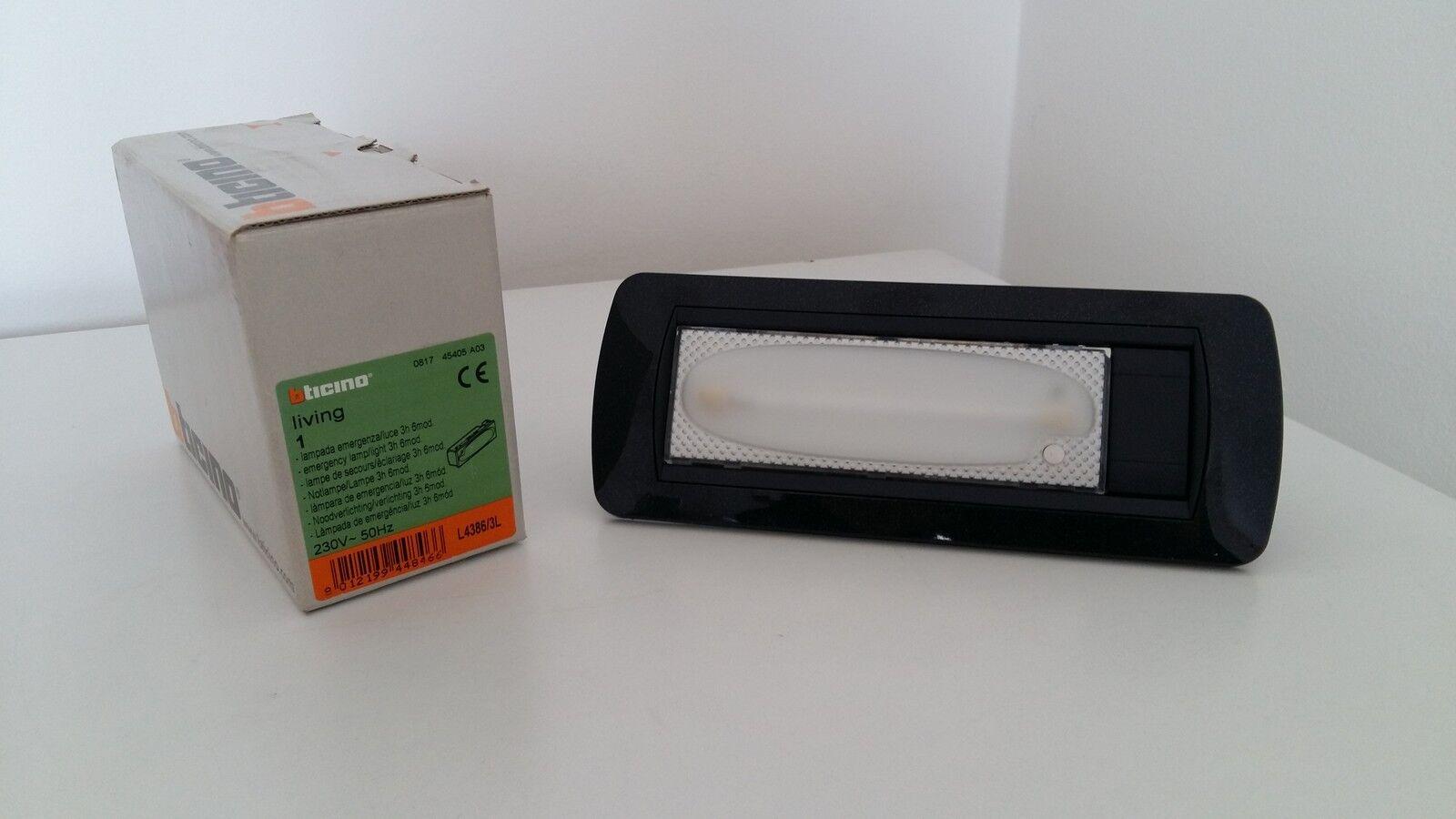 BTICINO L4386 3L LIVING INTERNATIONAL LAMPADA EMERGENZA  LUCE 3H placca + telaio